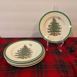 5pc 6.25in Spode England Christmas Tree Plates